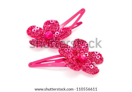 Beautiful pink barrettes isolated on white background - stock photo