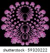 Beautiful pink 3D fractal flower shapes - a pattern on a black isolated background - stock photo