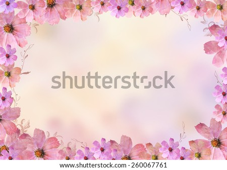 beautiful pink flowers frame or border over blur background. Pastel, sweet, romantic, valentine, birthday, invitation, wedding, natural, soft, spring concept background - stock photo