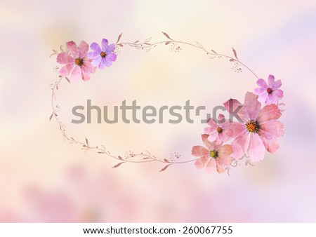 beautiful pink flowers with brunches , oval blank space design for writing tittle over blur background. Pastel, sweet, romantic, valentine, birthday, invitation, wedding concept design background idea - stock photo