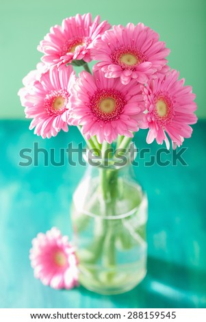 beautiful pink gerbera flowers bouquet in vase - stock photo
