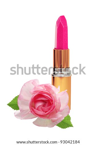 beautiful pink lipstick in golden tube and pink rose isolated on white - stock photo