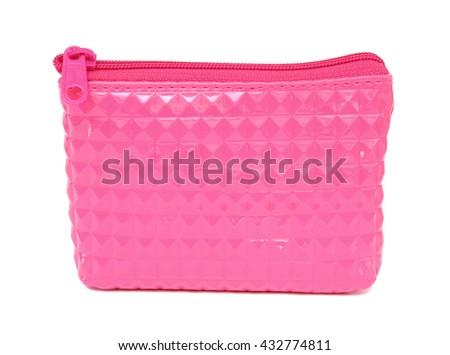 Beautiful pink make up bag isolated on white - stock photo