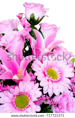 Beautiful pink plastic flowers