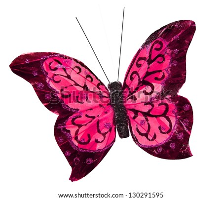 Beautiful pink pretty butterfly insect, isolated on white background - stock photo