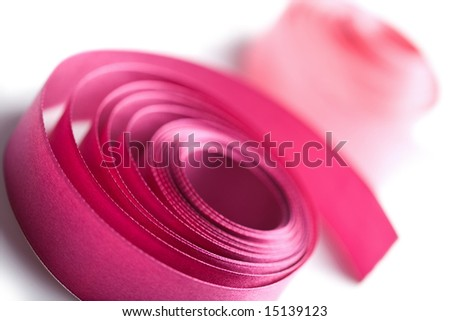 beautiful pink ribbons isolated - stock photo