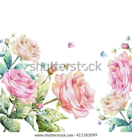 Beautiful pink roses twig with butterflies garland. Watercolor hand painted illustration - stock photo