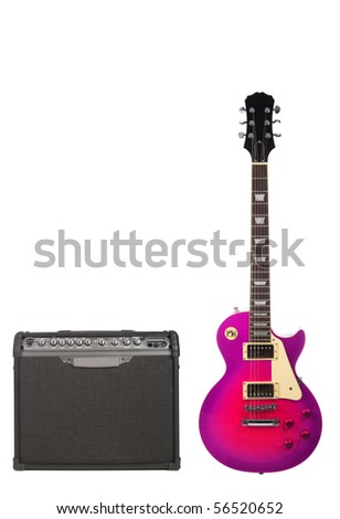 Beautiful pink sunburst electric guitar and amplifier isolated on white background - stock photo