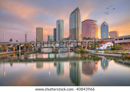 Beautiful pink sunrise and reflections in downtown Tampa, Florida - stock photo