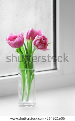 Beautiful pink tulips in vase on windowsill background