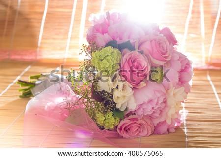 Beautiful pink wedding bouquet - stock photo