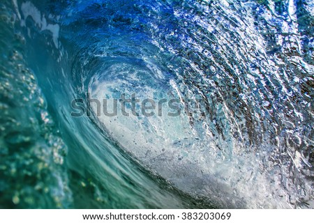 Beautiful pipeline closing wave. Big surfing blue ocean wave crashing. Marine sport water surface. Inside the Pipeline - stock photo