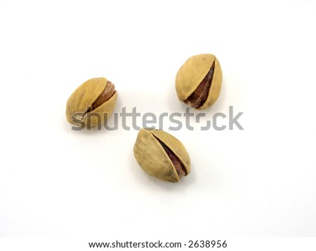Beautiful pistachioes on a white background