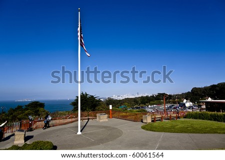 beautiful place at the Golden gate Bridge with view to San Franzisko and Alcatraz - stock photo