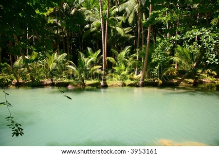 beautiful place on river - stock photo