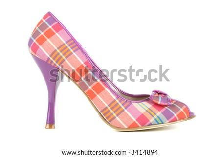 beautiful plaid high heels - stock photo