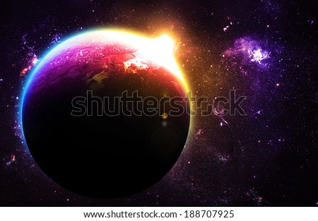 Beautiful Planet at Sunrise - Elements of this Image Furnished By NASA - stock photo