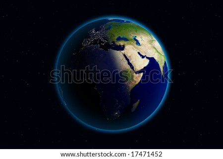 Beautiful Planet Earth. Viewing Europe day and night. - stock photo