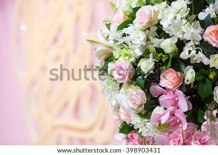 Beautiful plastic flower in the wedding ceremony