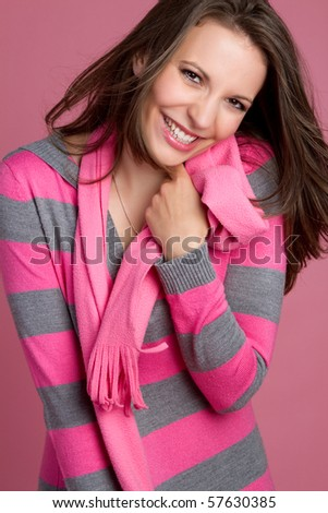 Beautiful playful woman - stock photo