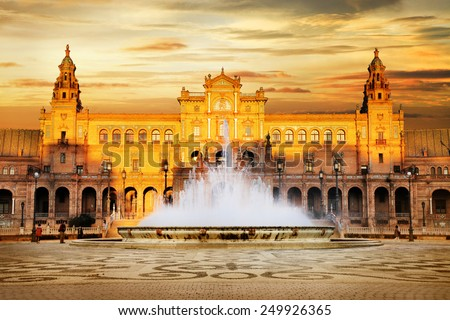 beautiful Plaza de Espana on sunset, Sevilla, Spain - stock photo