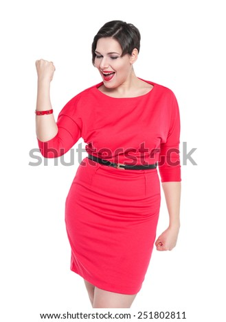 Beautiful plus size woman in red dress with yes gesture isolated on white background - stock photo