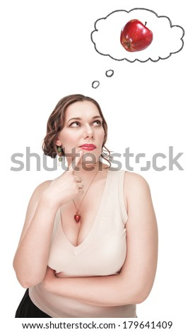 Beautiful plus size woman thinking about healthy food  - stock photo