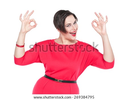 Beautiful plus size woman with ok gesture with her hands isolated on white background - stock photo