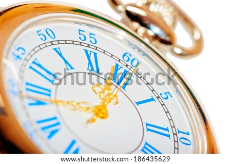 beautiful pocket watch with gold hands - stock photo