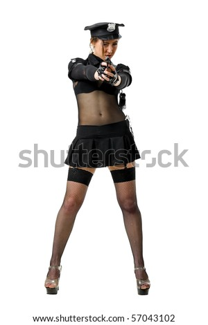 beautiful policewoman with a gun in a black uniform. isolated on white - stock photo