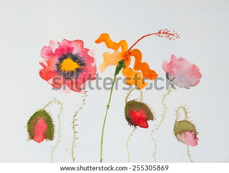 Beautiful poppies on white ; Watercolor painting - stock photo
