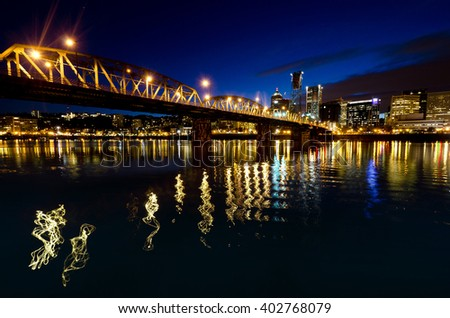 Beautiful portland city at night time - stock photo