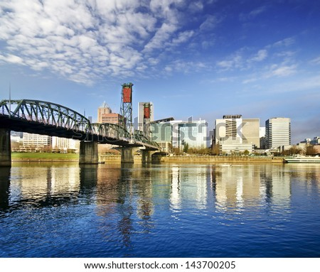 Beautiful portland skyline - stock photo