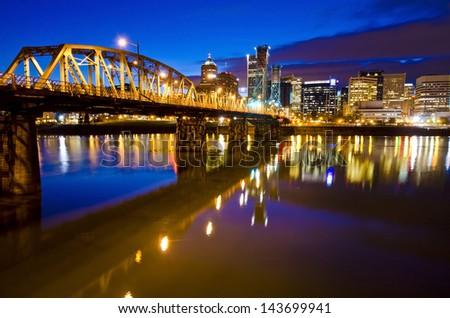 Beautiful portland skyline at night time - stock photo