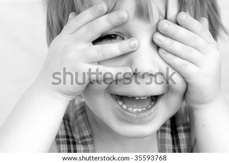 beautiful portrait of a boy on a white background - stock photo
