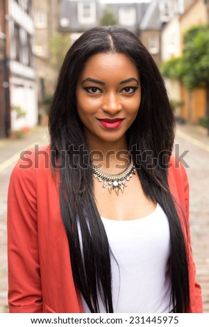 beautiful portrait of a Caribbean woman. - stock photo