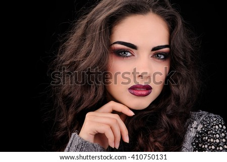 Beautiful portrait of a fashion model  - stock photo