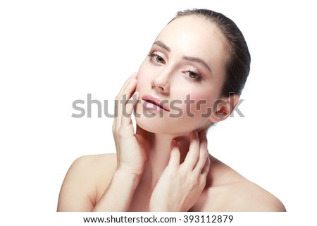 Beautiful portrait of a girl with a European appearance isolated - stock photo