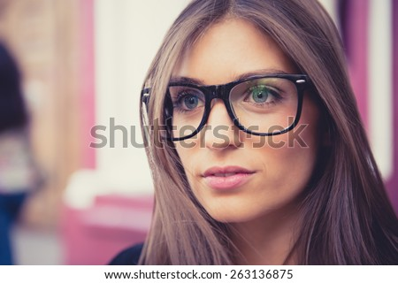 Beautiful portrait of a hipster woman. - stock photo