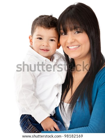 Beautiful portrait of a mother and son smiling - isolated over a white background - stock photo