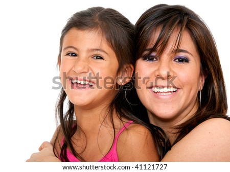 Beautiful portrait of a mother with her daughter isolated over a white background