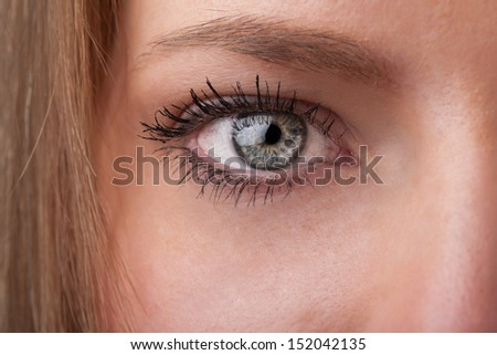Beautiful portrait of a pretty girl close up eye - stock photo