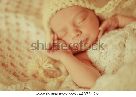 beautiful portrait of a small fragile child - stock photo