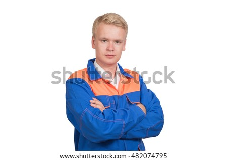 Beautiful portrait of a successful worker in blue uniform isolated on white background