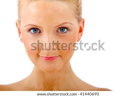 beautiful portrait of a woman smiling isolated over a white background - stock photo