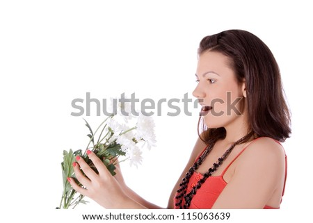 Beautiful portrait of a young sexy woman with a white flower. - stock photo