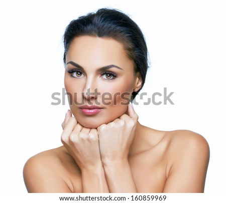 Beautiful portrait of european young woman model, on white background.  More photos of this series in my portfolio. - stock photo