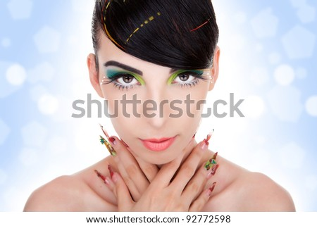Beautiful  portrait of fashion woman model with glamour  makeup,  fancy nails - stock photo