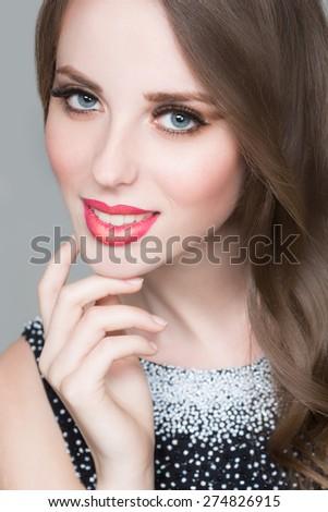 Beautiful portrait of sensual european young woman  - stock photo