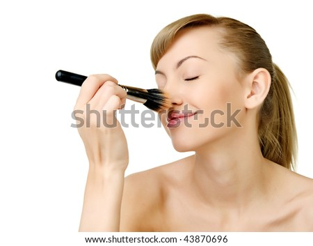 Beautiful portrait of the sexual girl on a white background